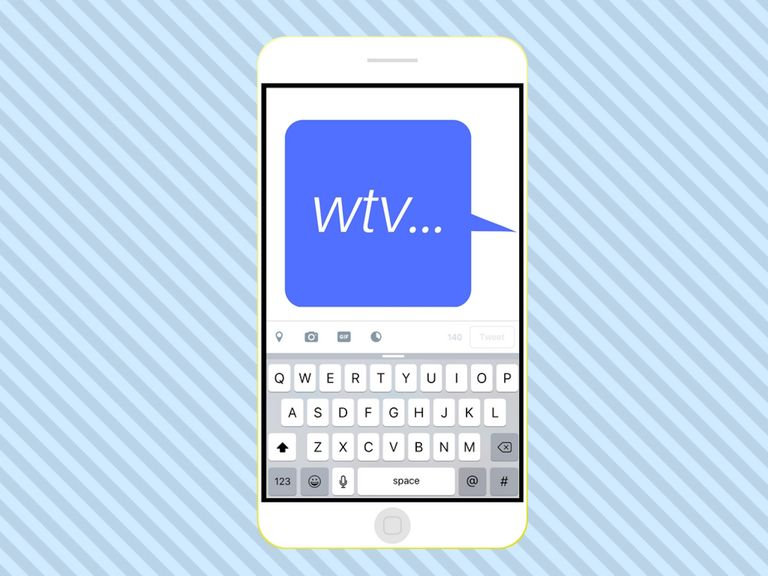 WTV acronym in a text on a mobile phone