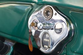 Dashboard view of classic car ignition