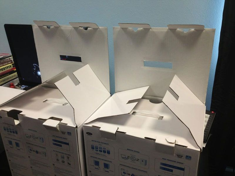 Boxes that are lined up to look evil
