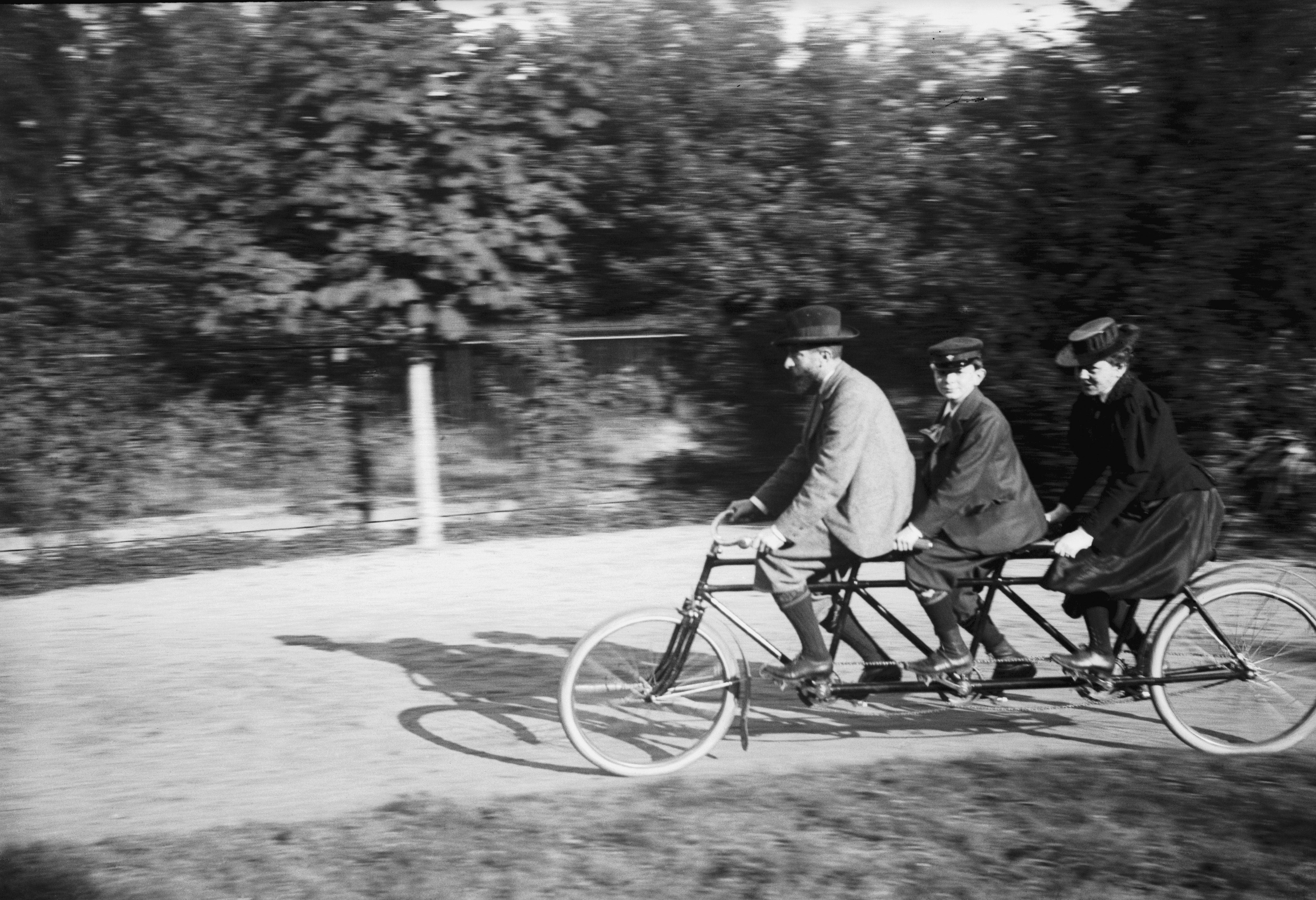 Family Group On Tandem Bike