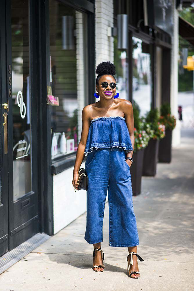 c70b42b0ad7c Woman in off the shoulder denim jumpsuit for summer fashion