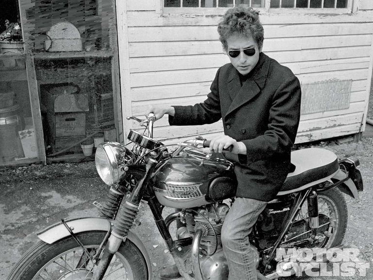 "Bob Dylan (the ""Jester"") on his Triumph motocycle"