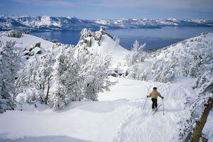 Downhill skier at Alpine Lake Tahoe