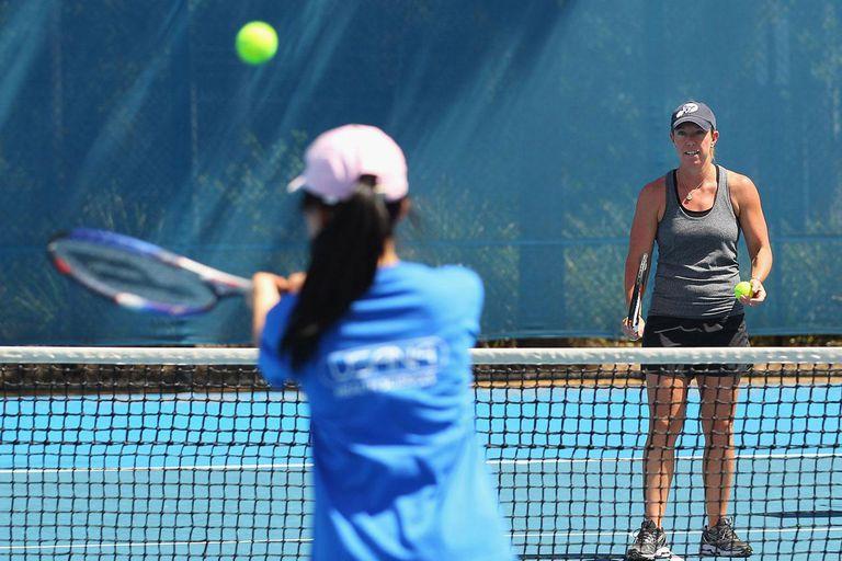 Tennis player's training drills