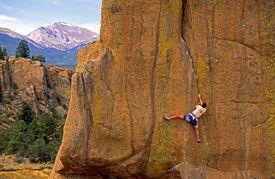 In Fear of Fear (5.13-) is a trad crack climb near Buena Vista, Colorado.