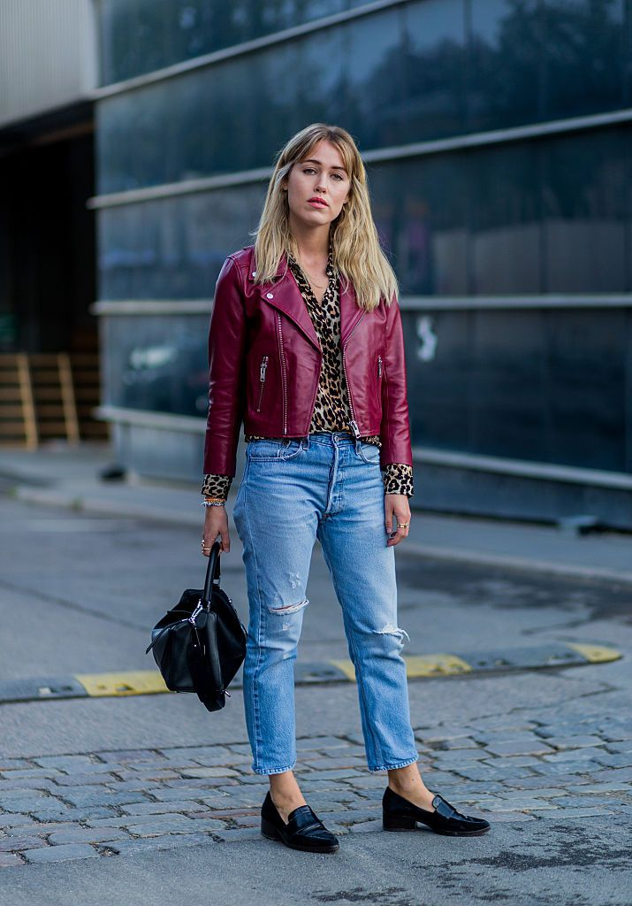 9a1e0aaa91b9 Street style red leather jacket boyfriend jeans