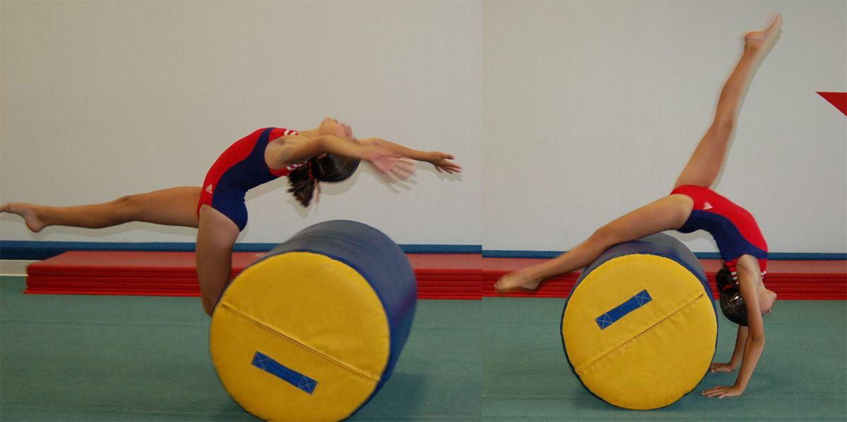 Gymnast doing a back walkover: back walkover with a barrel mat