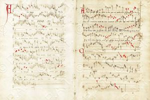 "Handwritten score for ""Ave Virgo"", by Guillaume Dufay."