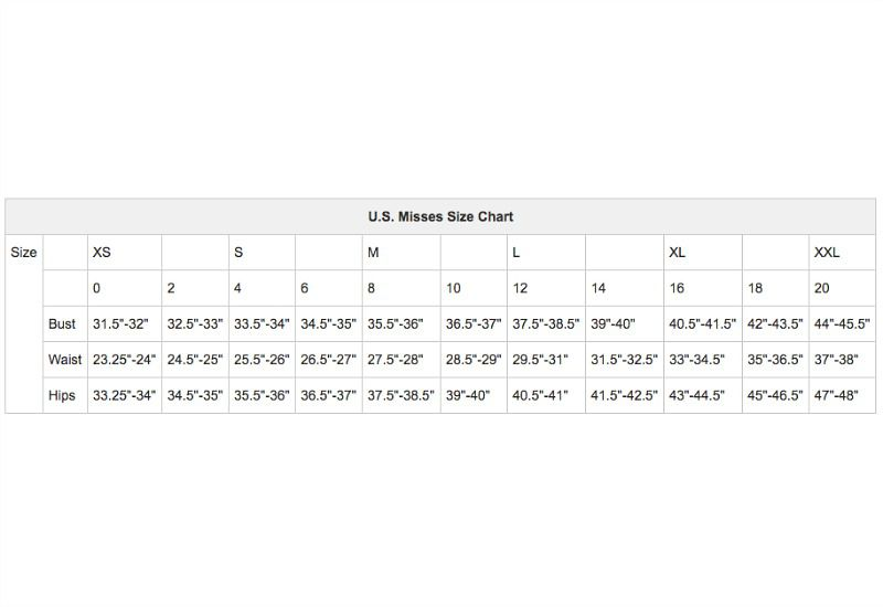 U S Women S Apparel Size Charts