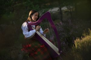 Beautiful Woman Playing Celtic Harp While Sitting On Grassy Field