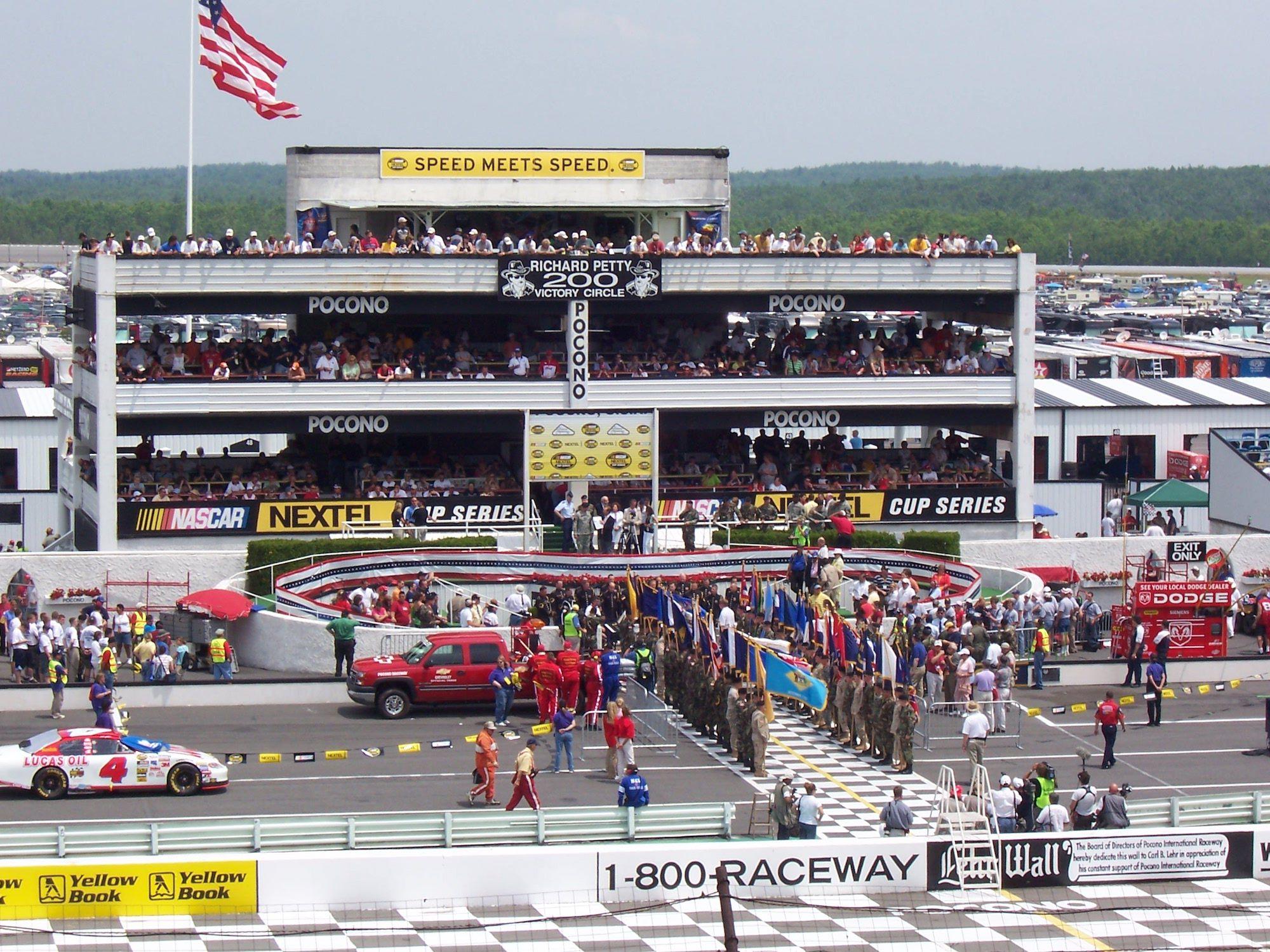 Victory Lane at Pocono during pre-race ceremonies at the 2005 Pocono 500
