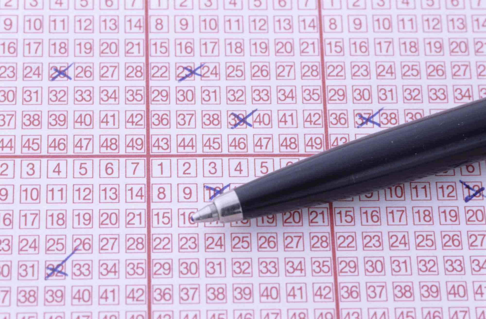 Markings on lottery ticket, close up