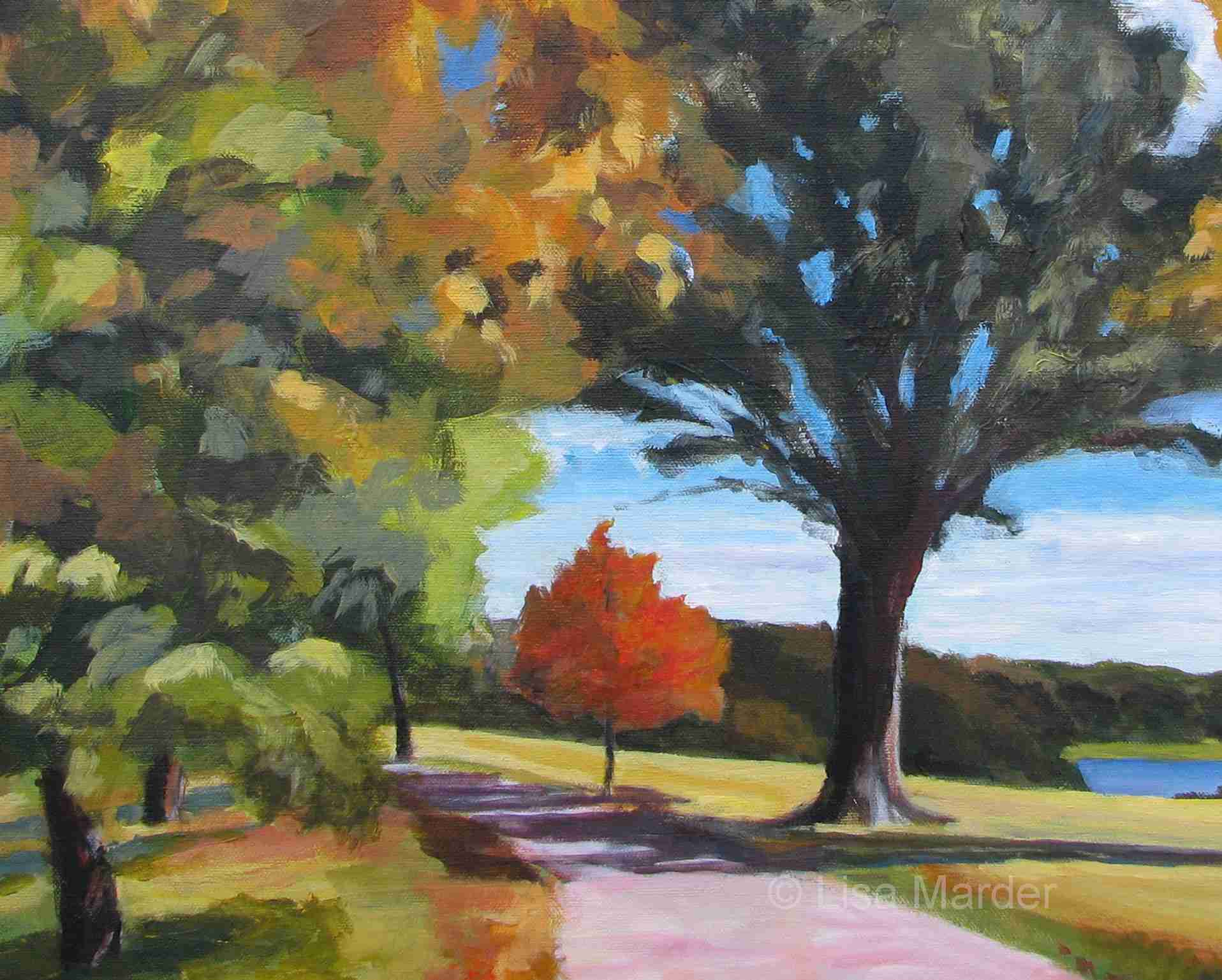 Painting of autumn trees by Lisa Marder showing shadows and massing of leaves on trees.