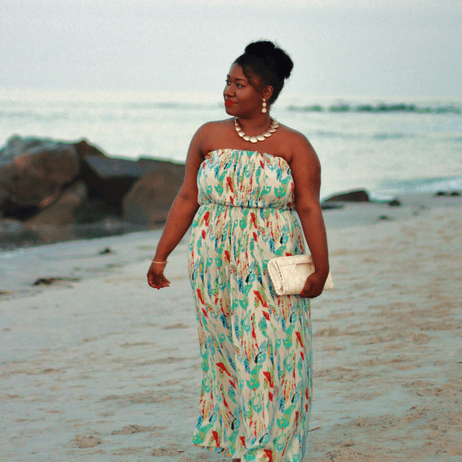 Woman in long strapless floral sundress