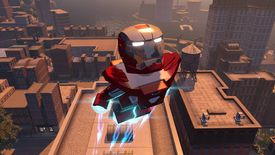 Iron Man soars over a city in Lego Marvel Avengers on PS4.