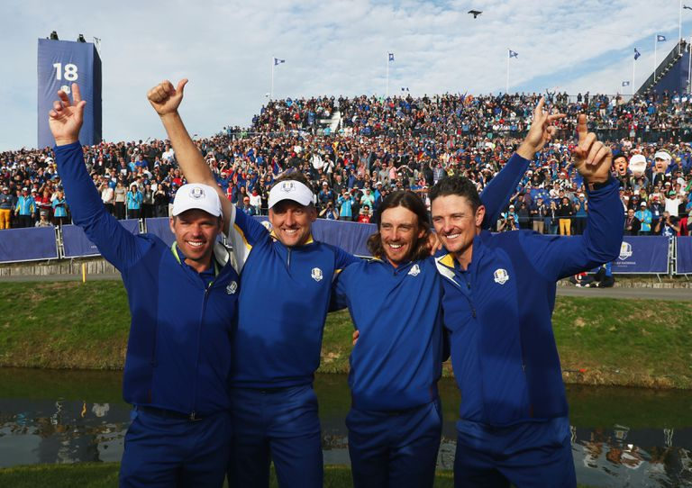 Paul Casey, Ian Poulter, Tommy Fleetwood and Justin Rose of Europe celebrate winning the 2018 Ryder Cup
