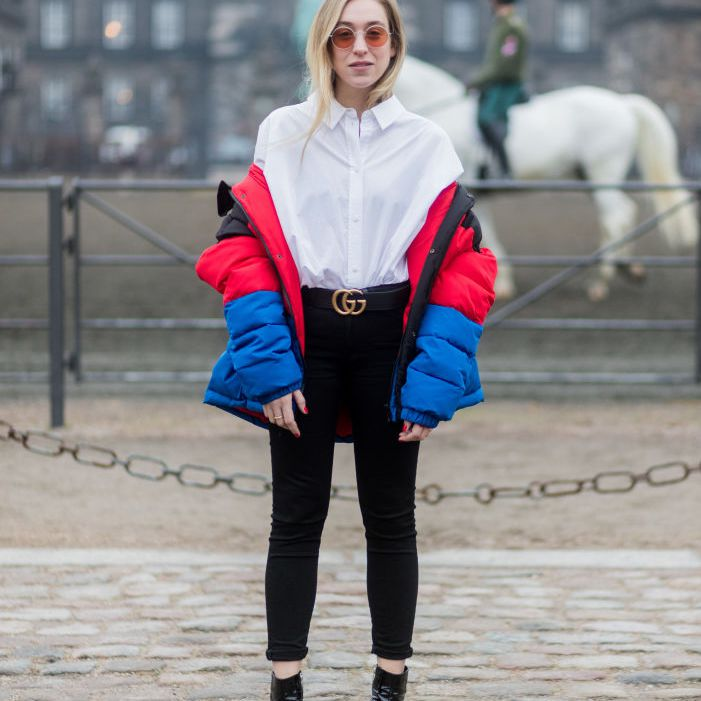 Street style jeans and puffer coat