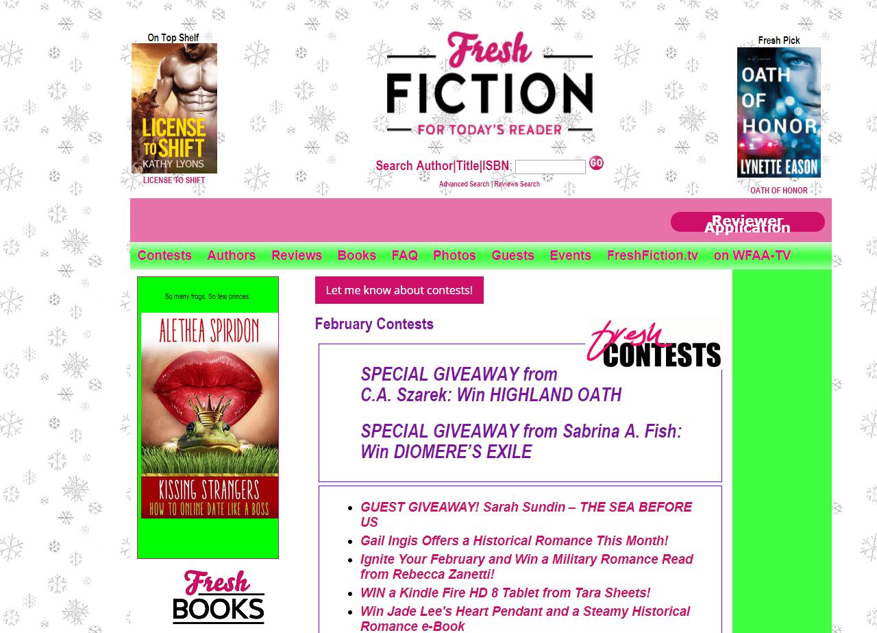Screenshot of Fresh Fiction's Giveaways