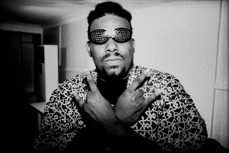 American disc jockey, rapper, songwriter and producer Afrika Bambaataa wears wacky eyewear in 1980