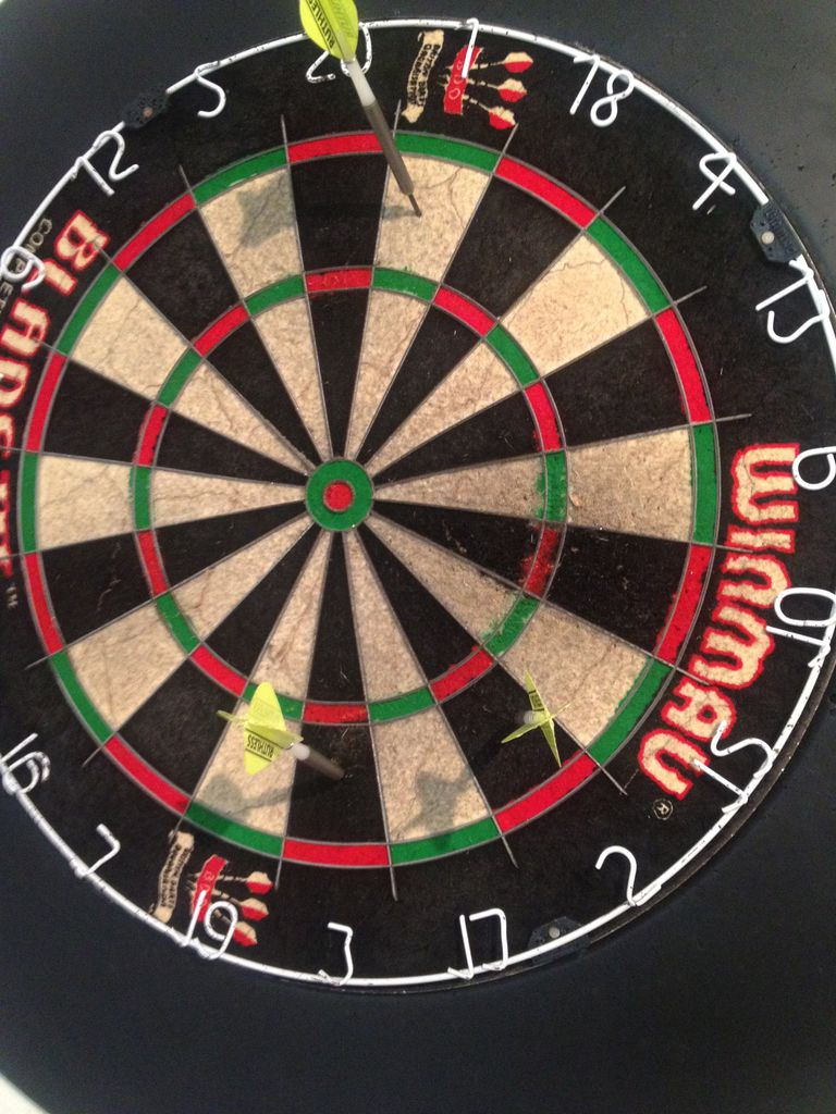 "Dart board showing the opening three shots of the ""Around the Clock"" dart game"