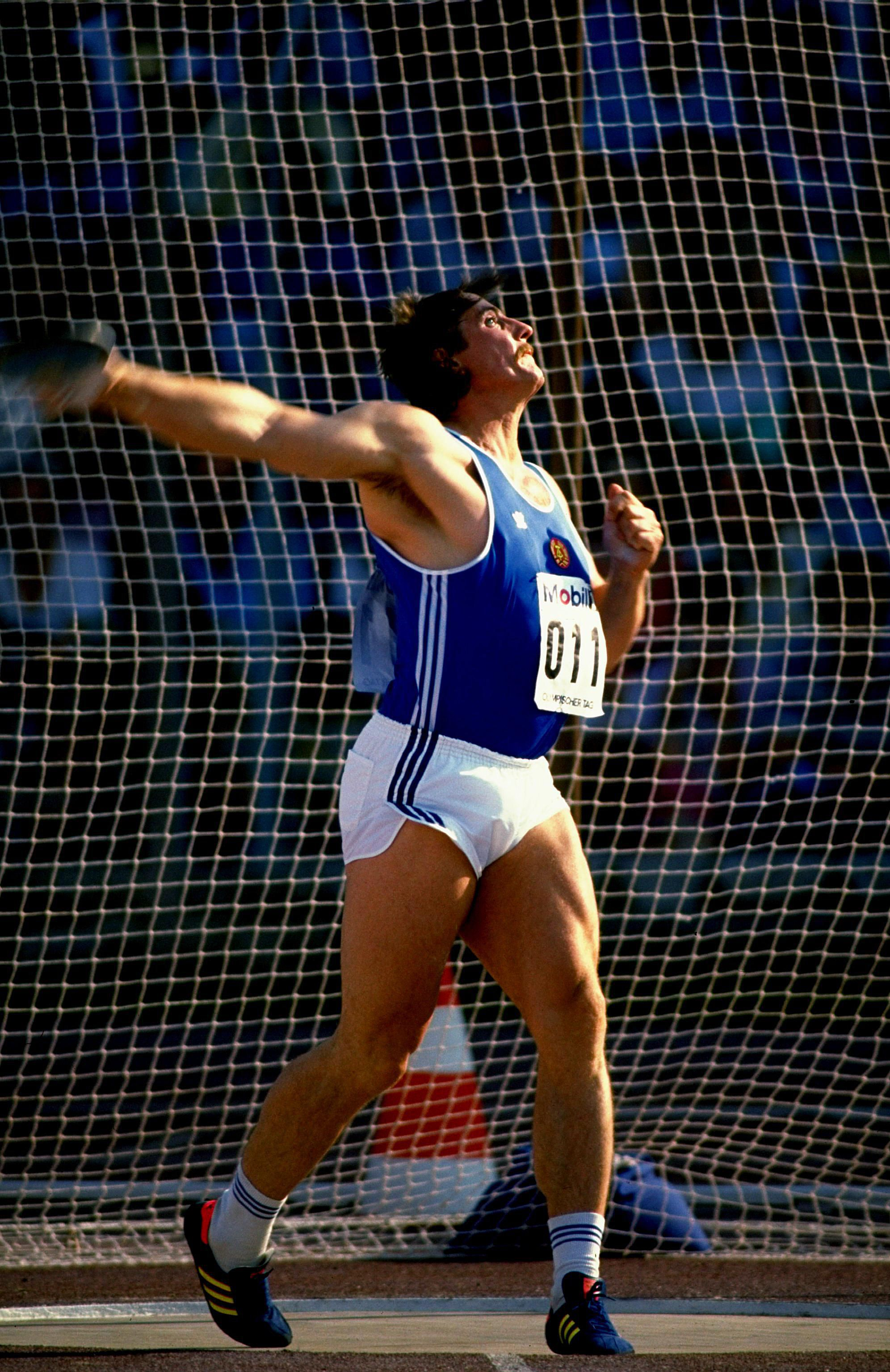 Jurgen Schult throws the discus in 1989. Schult set a world record and also earned one Olympic and one World Championship gold medal during his athletic career.