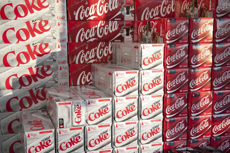 Stacked variety of Coca Cola for sale