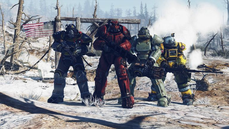 Power armor frames in Fallout 76 on PS4.