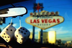USA, Nevada, Las Vegas, fuzzy dice in car