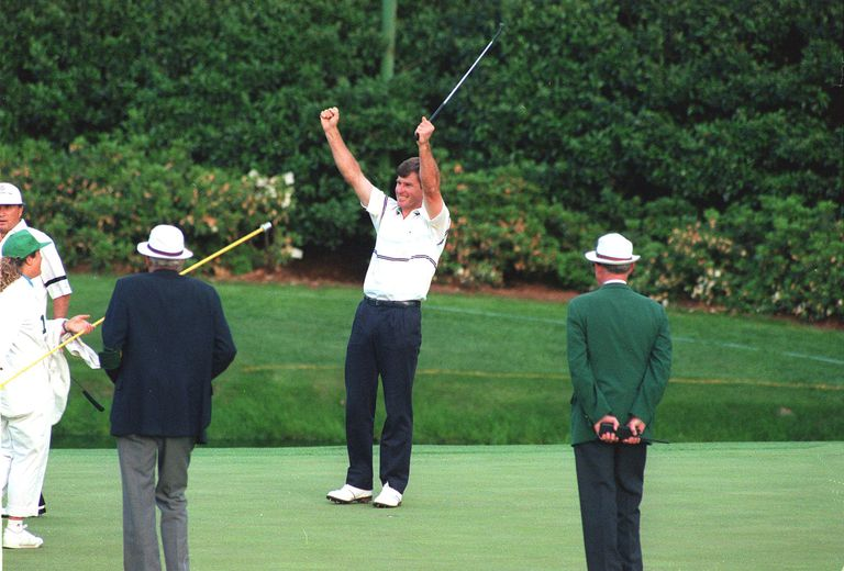 Nick Faldo celebrates the winning putt in the 1989 Masters