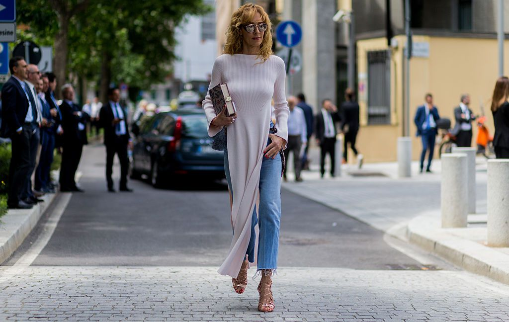 Street style fashion jeans and sweater