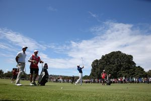 Rory McIlroy plays a stroke from the fairway.