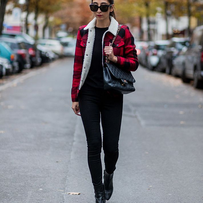 Street style jeans and plaid jacket