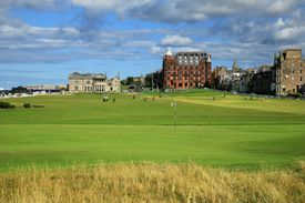 View of the first hole at The Old Course at St Andrews from behind the green