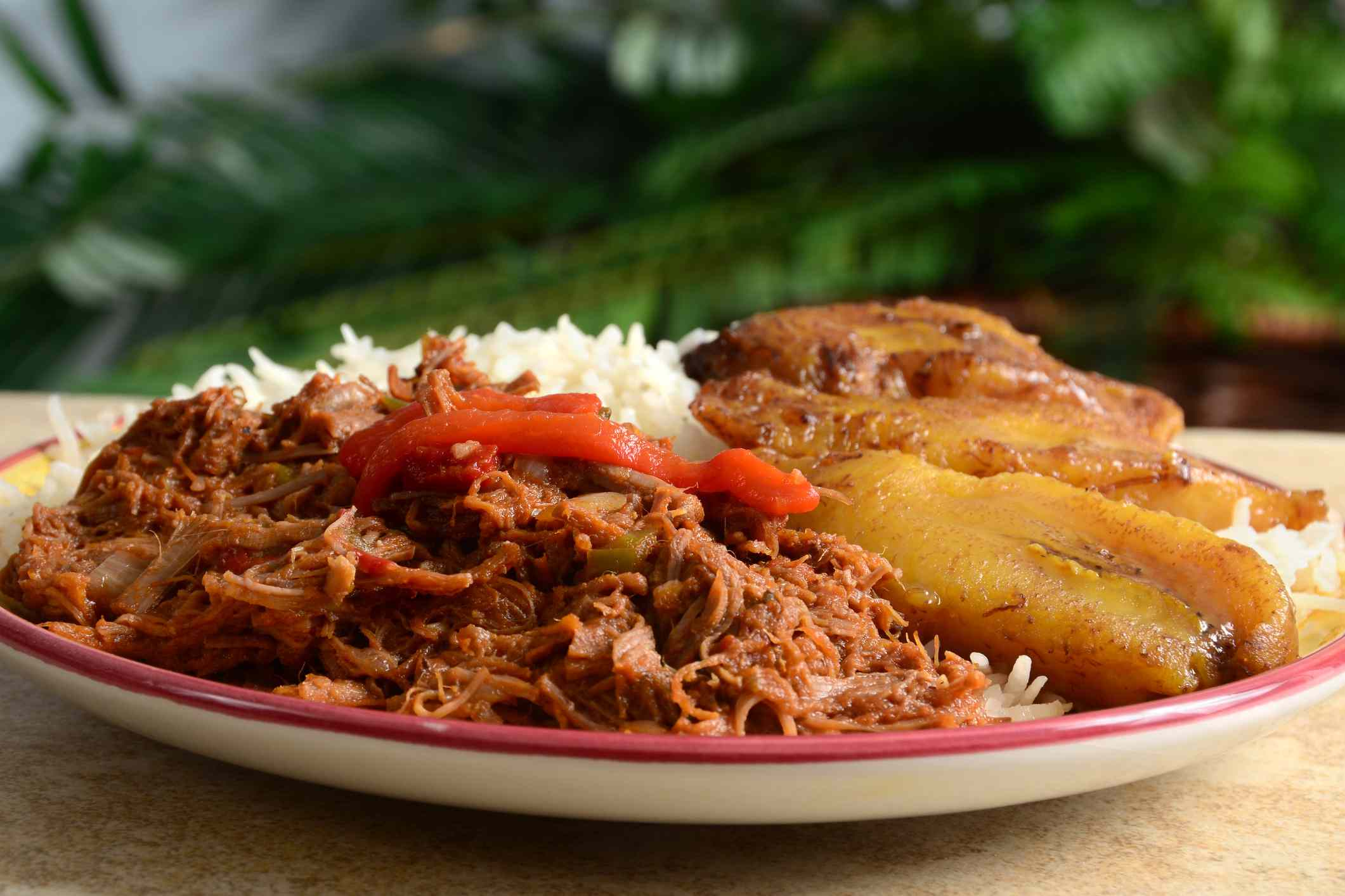 A plate full of Caribbean food