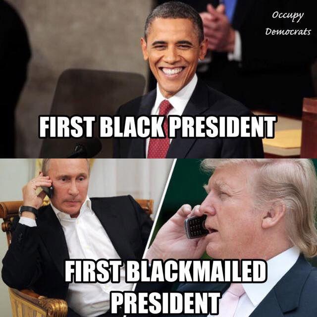 1st blackmailed president - trump meme