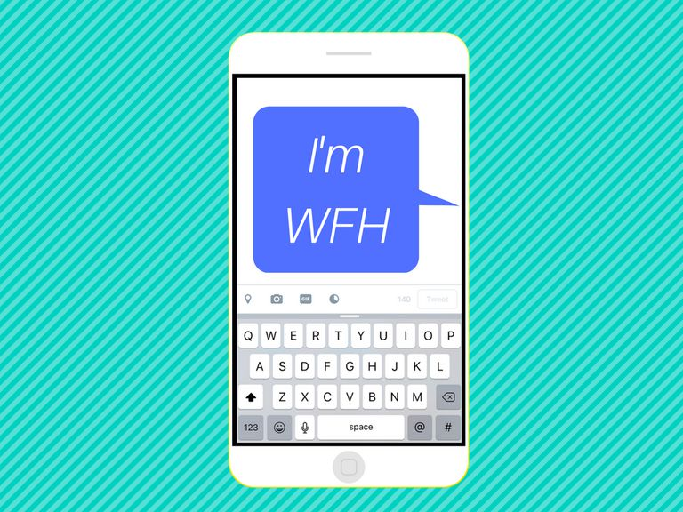 """An image graphic of a text message saying """"I'm WFH"""" on a smartphone."""