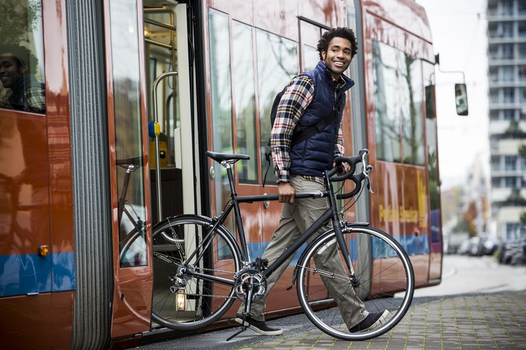 A man commuting on bicycle