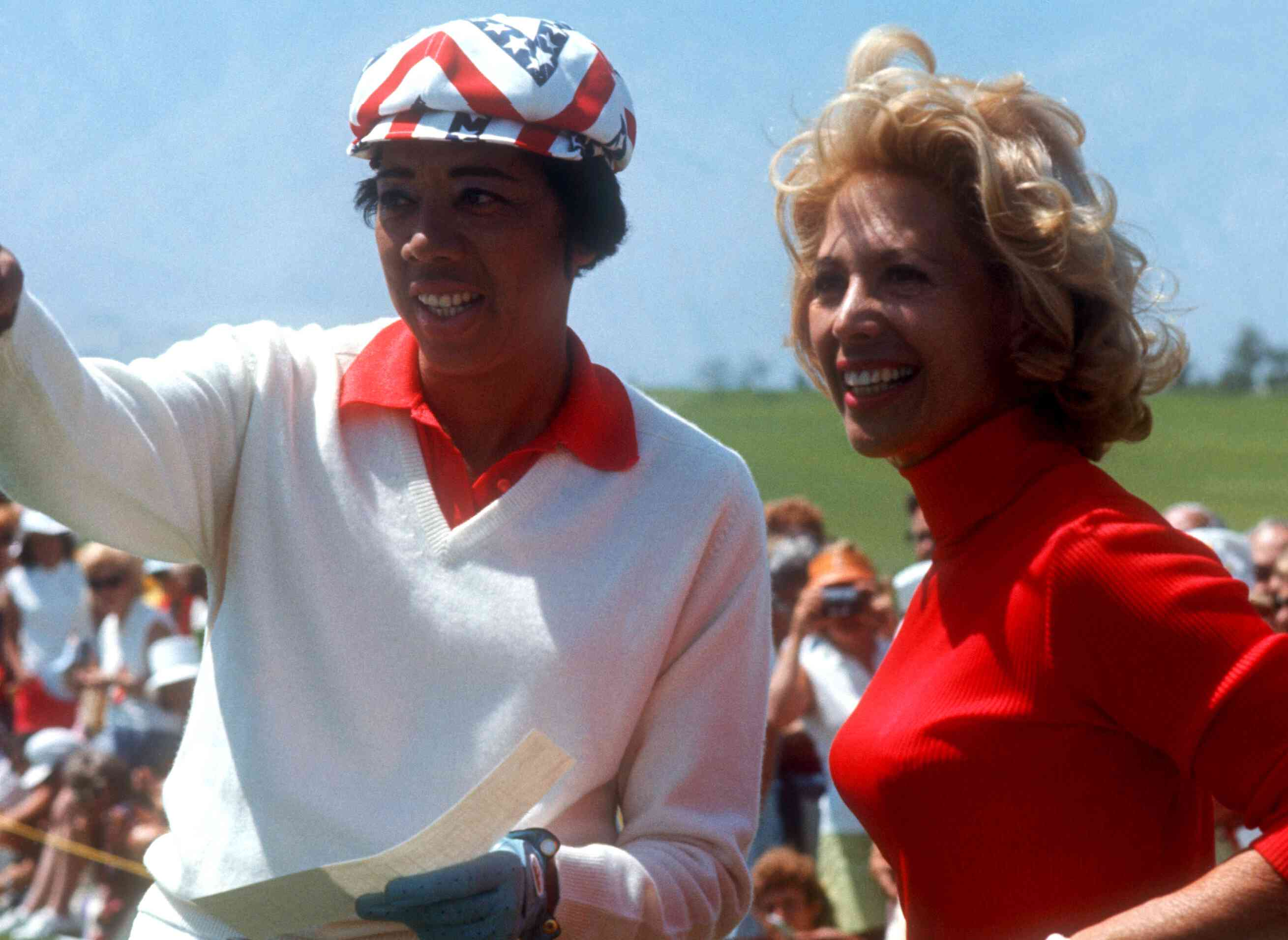Althea Gibson and singer/actress Dinah Shore look over the course during the Dinah Shore Colgate Winner's Circle on April 16, 1972