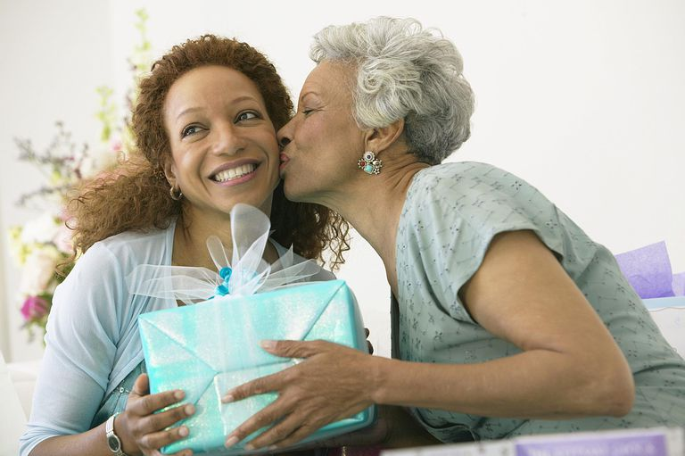 Grandmother shows love to adult daughter
