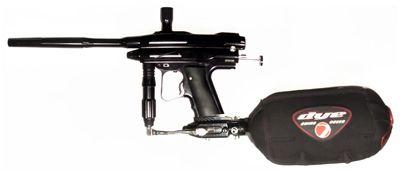 An assembled paintball gun.