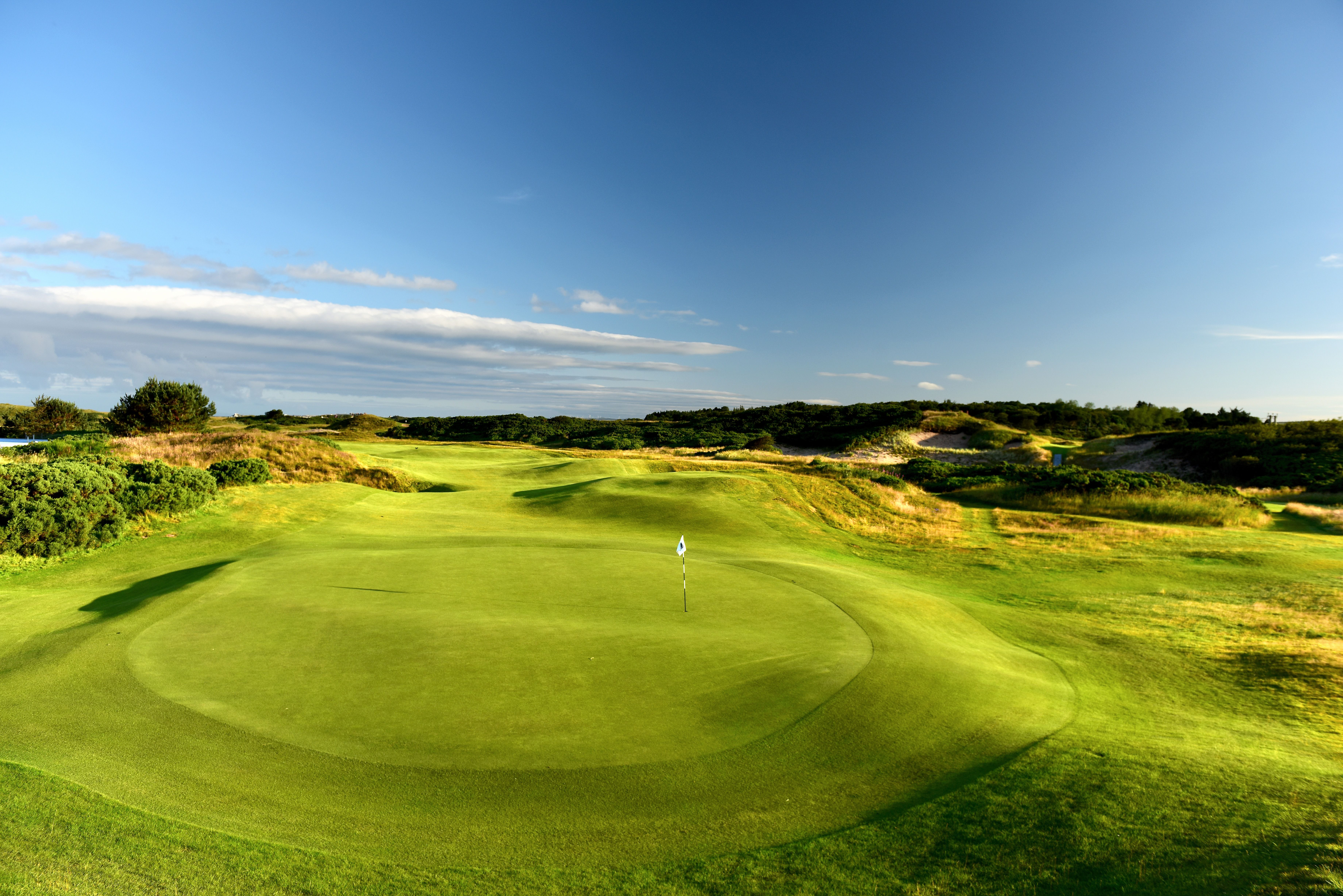 A view from behind the green on the 423 yards par 4, 9th hole at Royal Troon