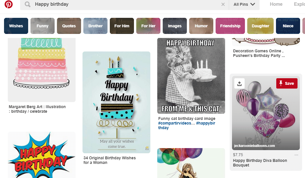 Screen shot of a search on Pinterest for Happy Birthday