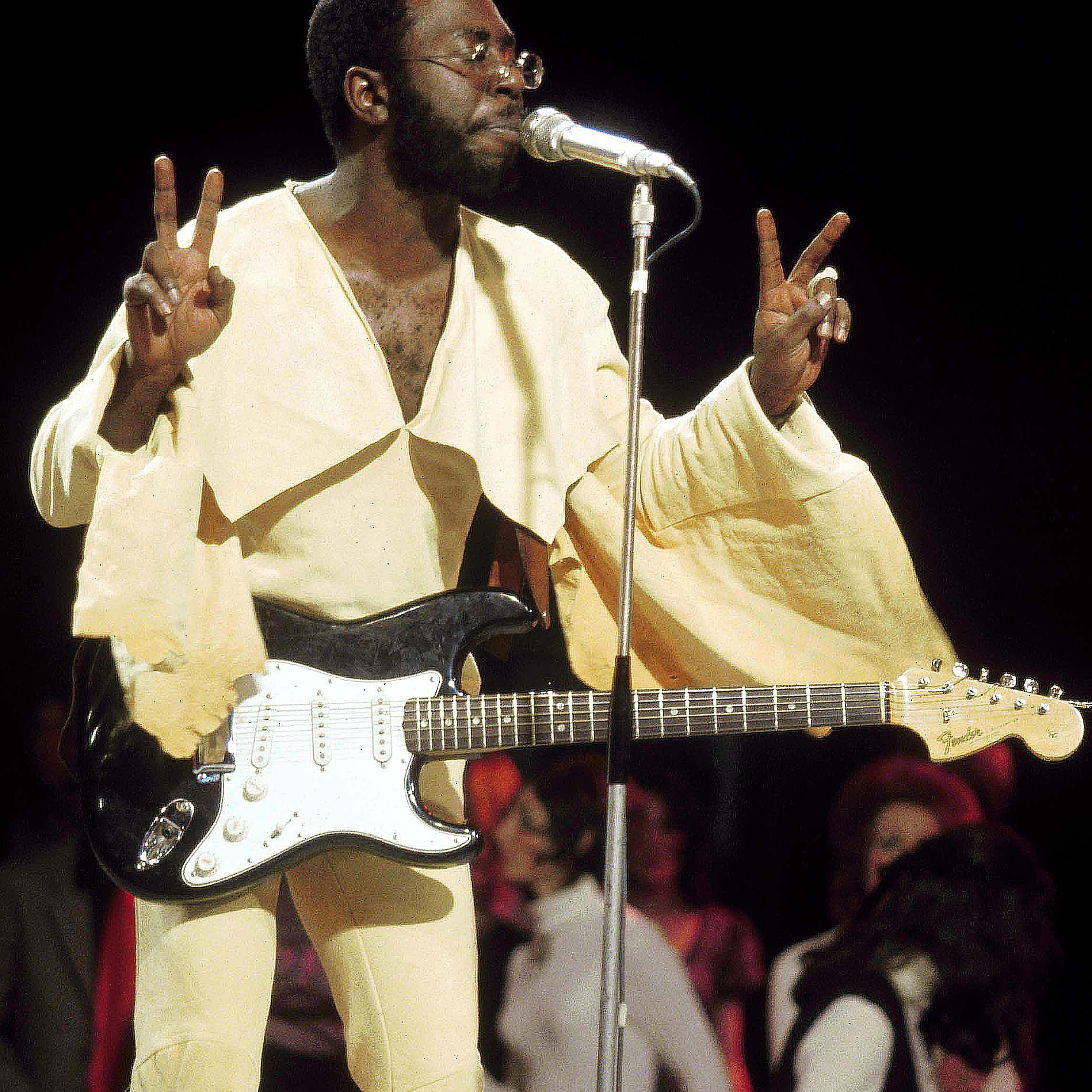 Curtis Mayfield during a performance