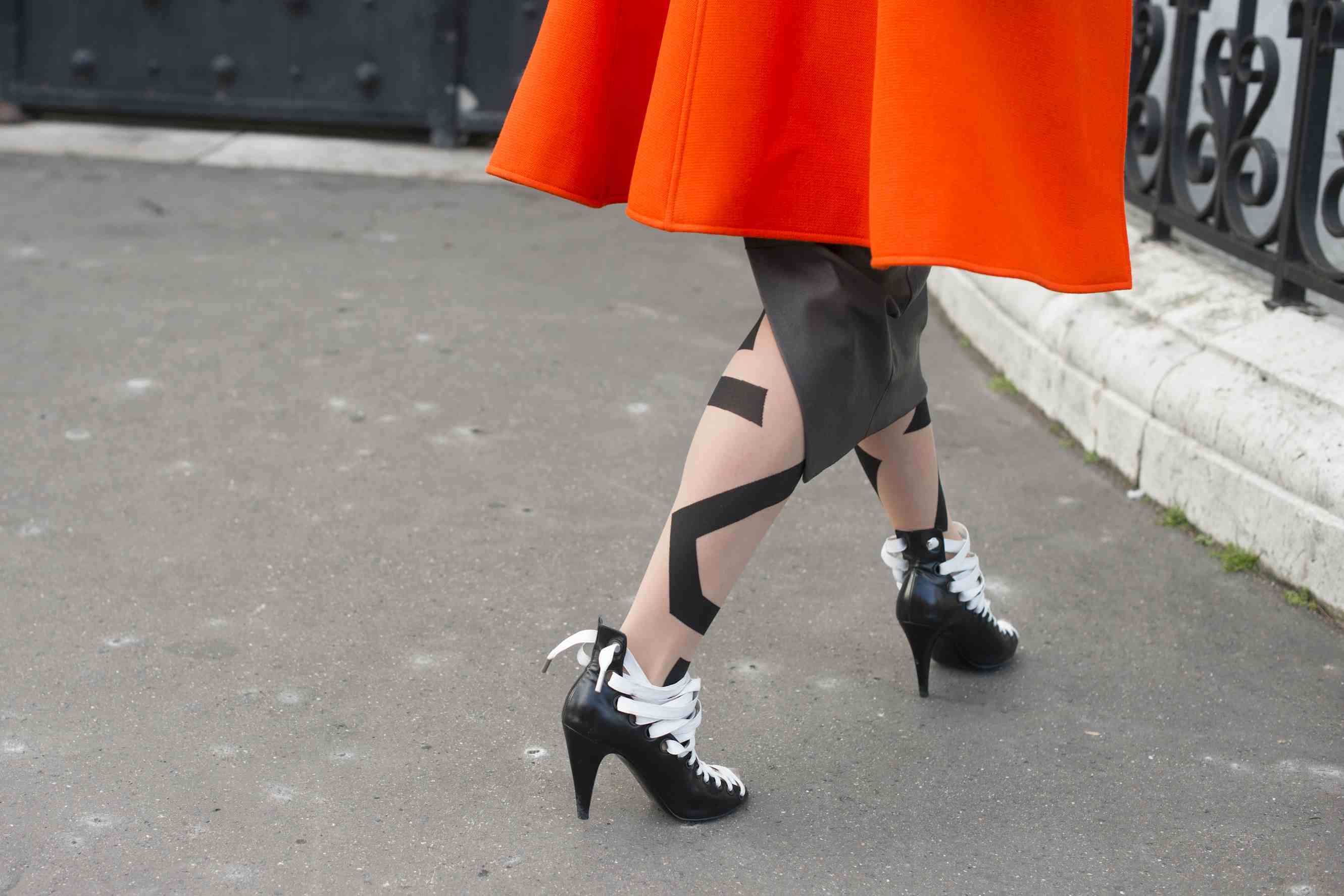 01223ecca1f6a PARIS, FRANCE - FEBRUARY 26: Fashion Stylist Megan Gray wears Balenciaga  shoes, Rick Owens skirt and Wolford stockings on day 2 of Paris  Collections: Women ...