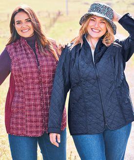 Two women outside wearing jackets