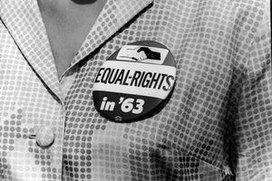 Woman Wearing a March on Washington Button