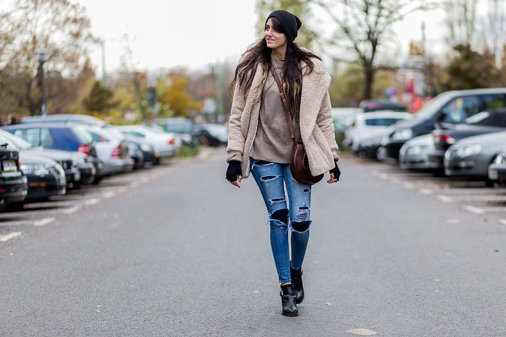 Street style jeans winter outfit