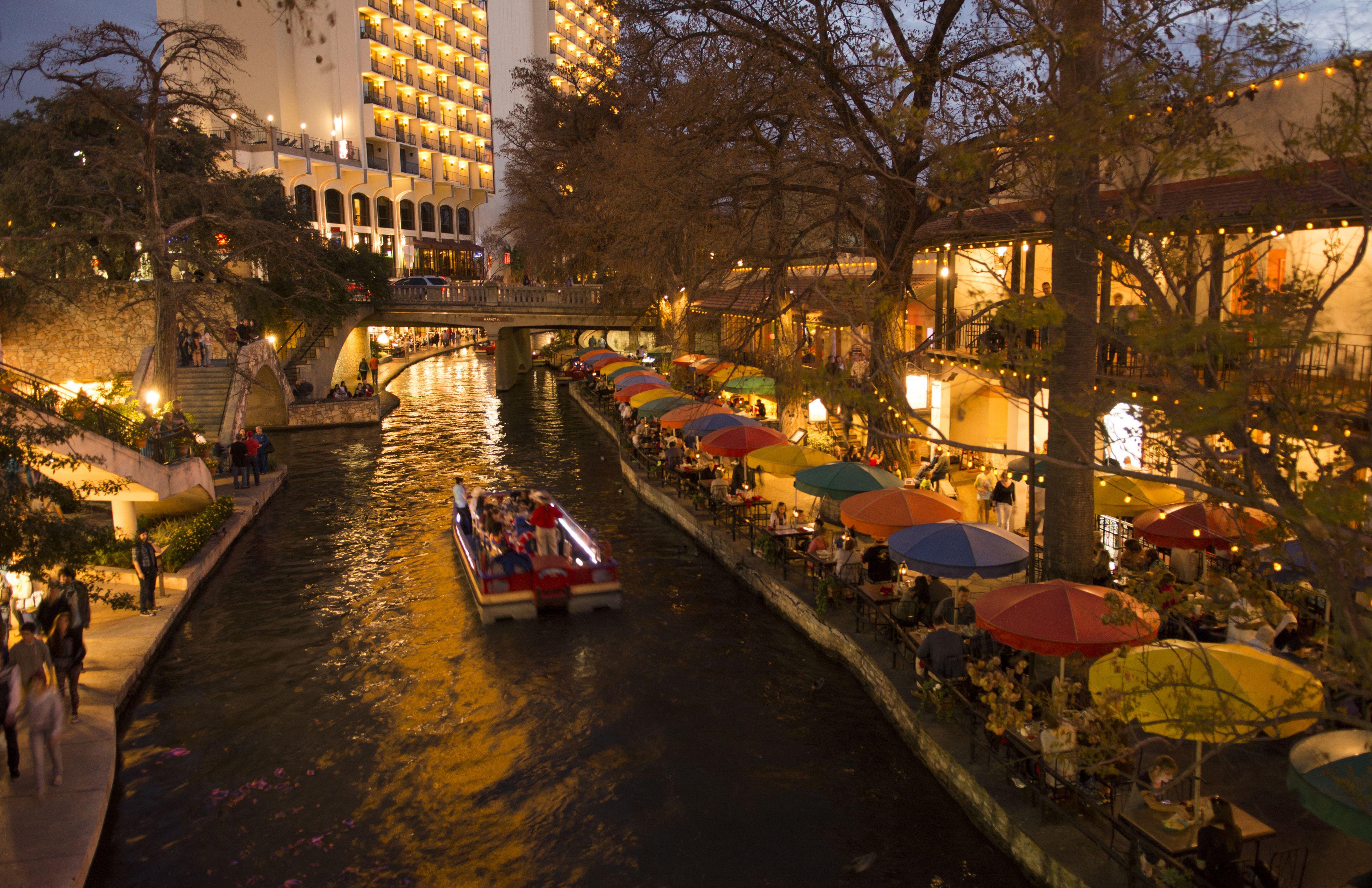 Illuminated cafes of San Antonio River Walk, San Antonio, Texas, USA