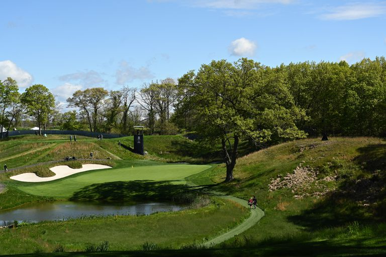 A general view of the 8th hole during a practice round prior to the 2019 PGA Championship at the Bethpage Black course on May 15, 2019 in Farmingdale, New York.