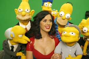 Katy Perry surrounded by Simpsons puppets